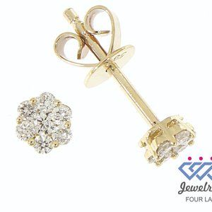 Natural Cluster Diamond Stud Earrings Yellow Gold